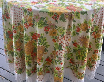 "Green / Orange / Yellow 64"" Round Floral Tablecloth with White Twisted Fringe"