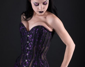 Black and Purple Rosebud Coutil and Sheer Overbust Corset 20 Inch Waist