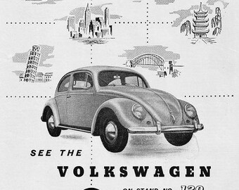 VW Beetle Car Print 1956, Advertising Wall Art