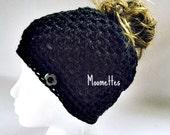 Crochet Handmade Messy Bun Hat Black Beanie Wood Button Runner Pony Tail Cloche Adult Women