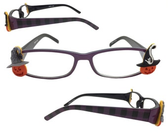 Women's 2.25 Strength Halloween Reading Glasses with Purple and Black Plaid Design