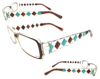 Women's 2.25 Strength Reading Glasses with Hand Painted Turquoise and Brown Diamond Design