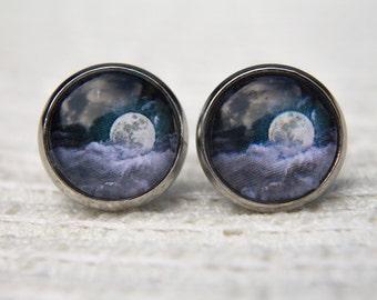 Moon Earrings, Cloud Earrings, Moon and Cloud, Night Sky, Moon, Clouds, Stud Earrings, Post Earrings, Glass Dome Earrings, Moon Jewellery