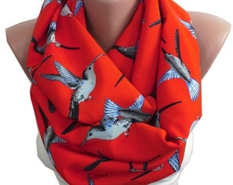 Valentines Gift For Her Gift For Women For Girlfriend Red Scarf Bird Scarf Infinity Scarf Animal Scarf Fall Winter Scarf Fashion Accessories