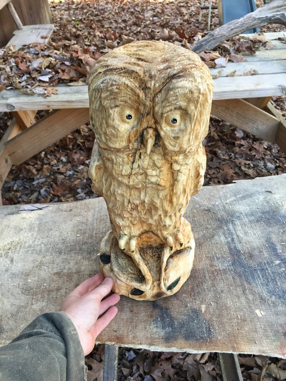 Owl chainsaw carving wood hand carved art by