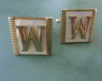 "Letter ""W"" Goldtone and Mother of Pearl Cufflinks"