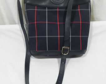 Authentic Vintage Burberry Burberrys Navy Plaid Check Fabric + Leather Shoulder or Crossbody Bag