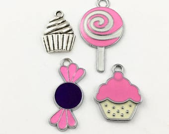 4 candy and cupcake enamel charms cupcake,20mm to 35mm # ENS A 081