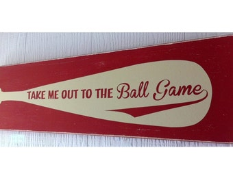 Take me out to the ballgame sign, Sports Sign, Baseball Sign, Wood Baseball,  Vintage Baseball Bat, Rustic Baseball Sign, Sports, Epsteam