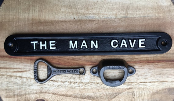 Man Cave Gifts Uk : Man cave gift set vintage cast iron wall mounted beer bottle