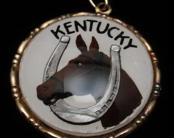 Kentucky Thoroughbred Horse Horseshoe Pendant or Large Charm