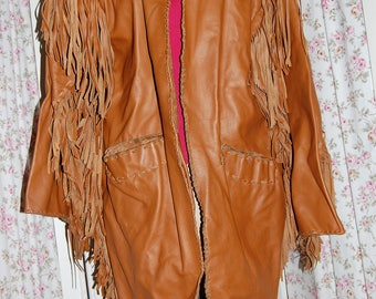 Mountain Man leather fringe handmade coat for your rendezvous.  Large