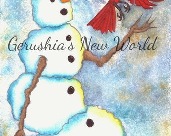 NEW - So Long - Salted Watercolor, Print, Snowman, Whimsical