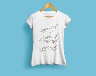 Horn Envy, Ladies Narwhal T-Shirt - Funny Tshirt, Shark Tshirt, Whale Tshirt, Animal Tshirt, Reddit Tshirt, Illustrated Tshirt, S M L XL XXL