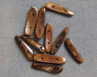 10 Pieces Brown Shell 2-Strand Spacer Bars, Native American Craft, Beach Theme