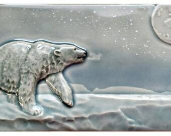 Light Show, polar bear art tile, 4 x 8 inch ceramic tile, wall art