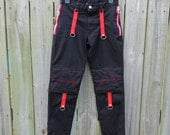 "Vintage Dogpile Black Bondage Pants- Punk Rock Pants-  Red Zippers/Accents 28"" waist  29"" length Made in the USA"