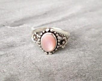 Gemstone ring silver cat's eye, size 59 ring sterling silver gem stone cat eye US size 8.7 UK size R