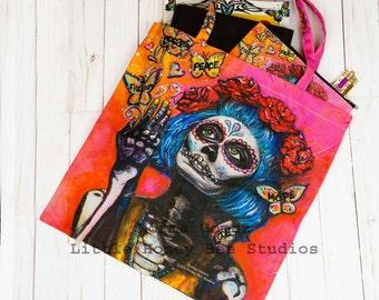 Sugar Skull Tote Bag,  Day of the Dead Bag, Dia De Los Muertos Tote Bag, Sugar Skull Art, Day of the Dead Art, Sugar Skull Purse, Book Bag