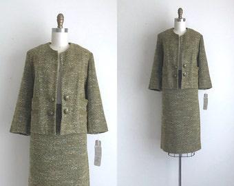 "1960s Suit / Vintage 1960s Skirt Suit / Deadstock Tweed Wool Suit 32"" Waist"