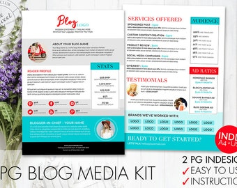 Etsy your place to buy and sell all things handmade 2 page blog media kit template indesign indd instant download pronofoot35fo Image collections