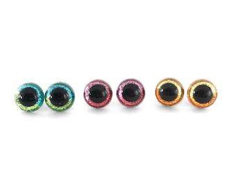 12 mm, 15 mm, 18 mm Hand Painted Rainbow Glitter Craft Safety Amigurumi Stuffed Animal Doll Eyes - 3 Pair