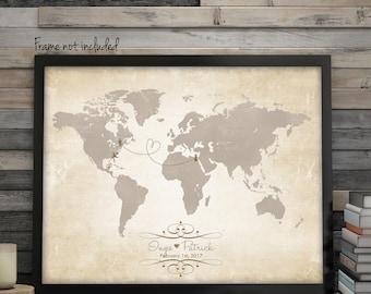 "Custom Wedding Map, Custom World Map, Wedding Guest Book Ideas, Wedding Gift Map, Custom Map, Guest Book Map, up to 30"" x 40"""