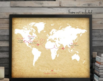 "Wedding Guest Book Alternative, Cork Board Resemblance, Push Pin World Map,  Wedding Gift Map, Custom Map, up to 30"" x 40"""