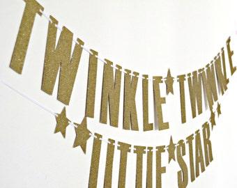 Glittery Gold Twinkle Twinkle Little Star Banner