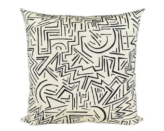 Indoor/Outdoor Lascaux Designer Pillow Cover in Black on Vellum Suncloth (Fabric by Alan Campbell for Quadrille)