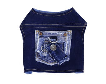 Distressed Pocket Patch Migrubbie Denim Small Dog Harness Upcycled Repurposed Custom Sized Dark Blue Jean Button Patch Ready to Ship