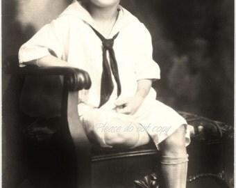 the school boy ~ Vintage Real  Photo Postcard