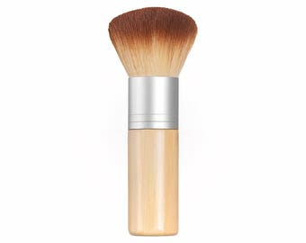 KABUKI BRUSH - Long Bamboo Handle - Soft Synthetic Bristles - 2 Toned Vegan Makeup Kabuki Brush