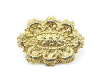 Vintage Scarf Clip, Detailed, Stamped Metal, Gold Tone