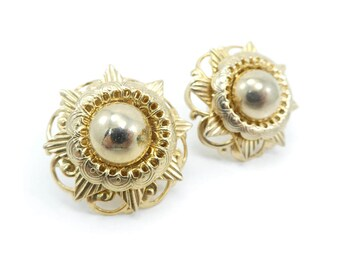 Vintage Filigree Earrings, Gold Tone, Screw Backs