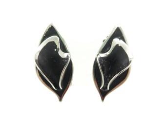 Vintage Black Enamel Earrings, Silver Tone, Clip Ons