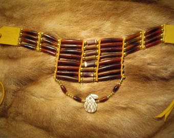 Horn Hairpipe Choker Breastplate with Gold Deerskin, Sea Urchin Beads and Carved Bone Eagle Pendant