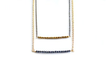 Gold black pyrite bar necklace pyrite beads bar necklace