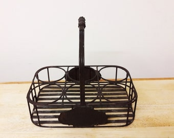 Vintage Shabby French Chic Bottle/Glass Carrier/Basket