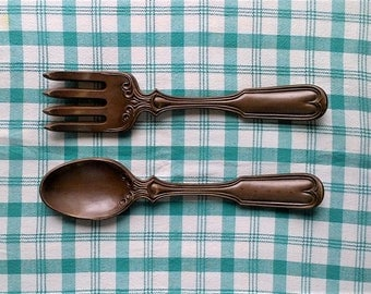 Set of Large Ceramic Fork and Spoon Kitchen Wall Decor - Pair 2 - 17 inches