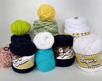 Lily Cotton Yarn Peaches and Cream, Sugar and cream, Yellow, green, twist, white, navy worsted weight READY to SHIP