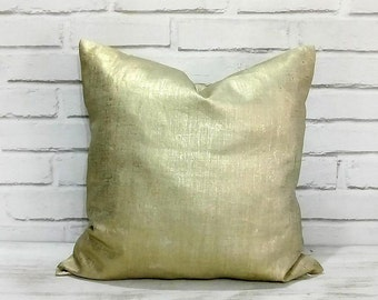 Fast Shipping/ Metallic gold color pillow cover/Linen gold pillow cover /Housewarming Gift/Home Decor/Colorful Homes/Modern Houses