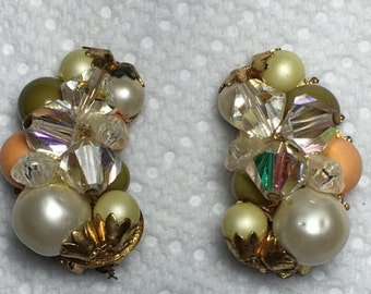 Vintage Floral Cluster Earrings