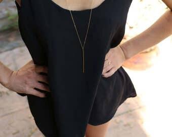 Gold Stick Necklace . Long Necklace with Gold Stick Pendant  EN020