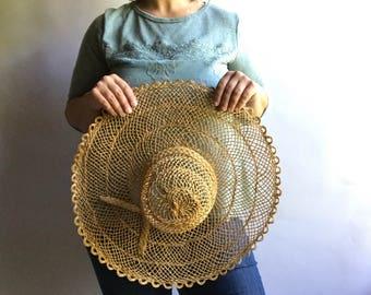 Vintage Large Woven Straw Hat / Floppy Straw Hat / Open Weave Straw Hat / Wall Hanging Hat / Sun Hat / Wide Brim Straw Hat