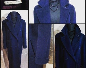 Vintage Larry Levine Full Length Double Breasted Blue Wool Petites Coat Sz 6