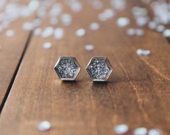 Silver grey hexagon glitter stud earrings, sparkling posts, CuteBirdie