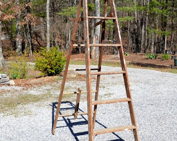 Vintage Wood Ladder Folding Tall Wooden Step Ladder Rustic Home Decor Book Shelf Panchosporch