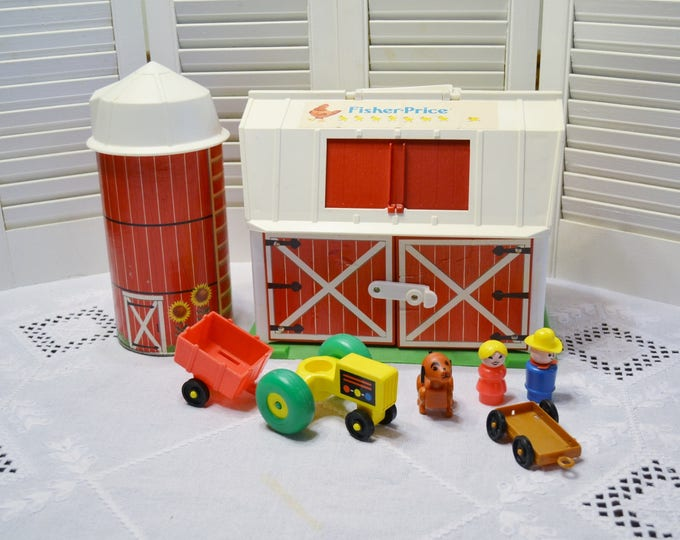 Vintage Fisher Price  Family Farm Little People Barn Silo People Animals Tractor Play Toy 1986 PanchosPorch