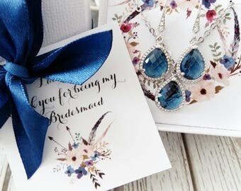 Navy Blue Bridesmaid gift, Bridesmaid jewelry, Bridesmaid jewelry set, Bridesmaid earrings, Bridesmaid proposal, Personalized gift